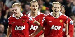 Manchester United's Paul Scholes and Darren Fletcher