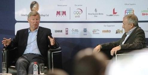 Sir Alex Ferguson giving a speech in Doha, Qatar