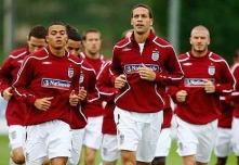 Rio Ferdinand leads England's training session